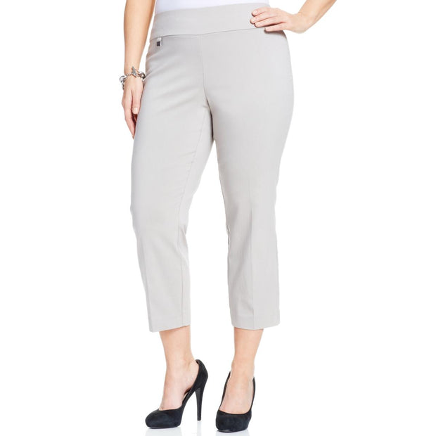 Plus Womens Stretch Tummy Control Capri Pants