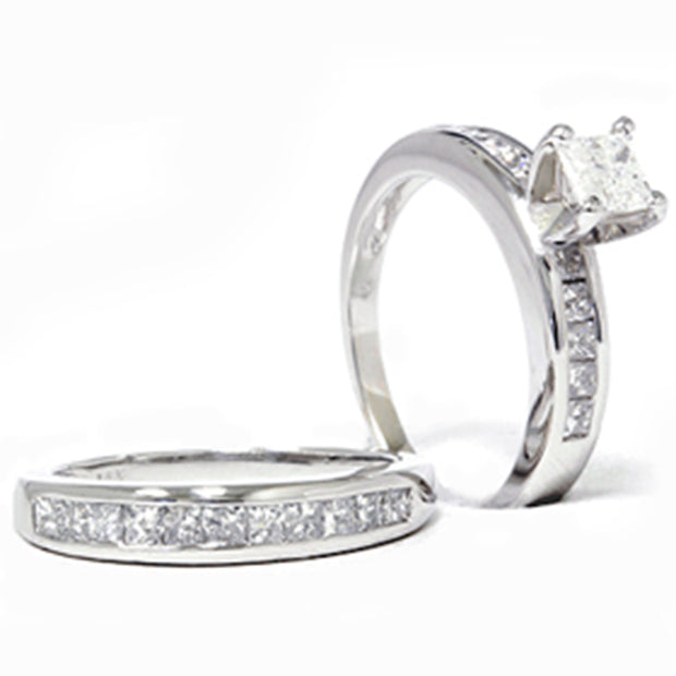 1 3/4 Carat Princess Cut Enhanced Diamond Engagement Ring Wedding Band Set 14k