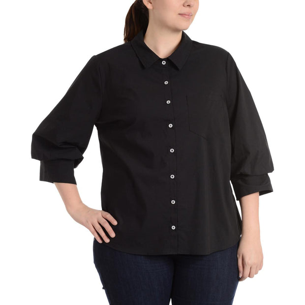 Plus Womens Solid Collared Button-Down Top