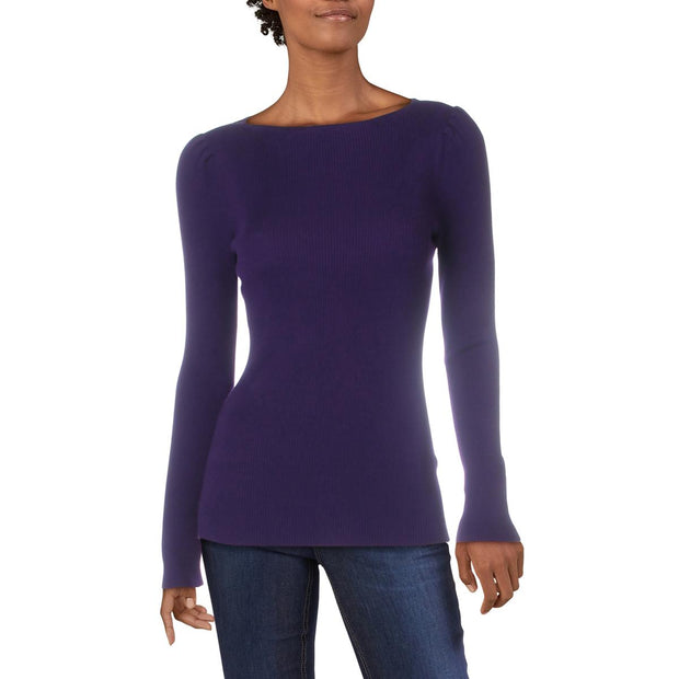 Womens Ribbed Boat-Neck Sweater