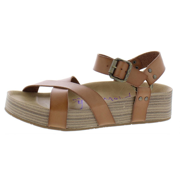 Makara Womens Faux Leather Stacked Footbed Sandals