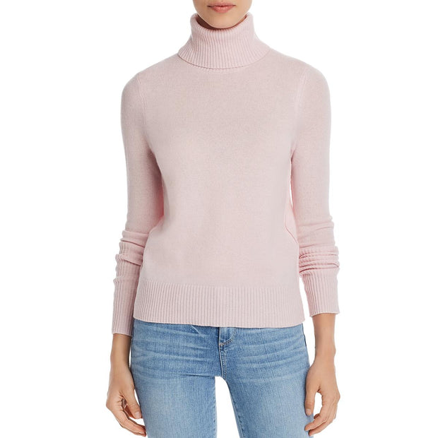 Womens Cashmere Ribbed Trim Turtleneck Sweater