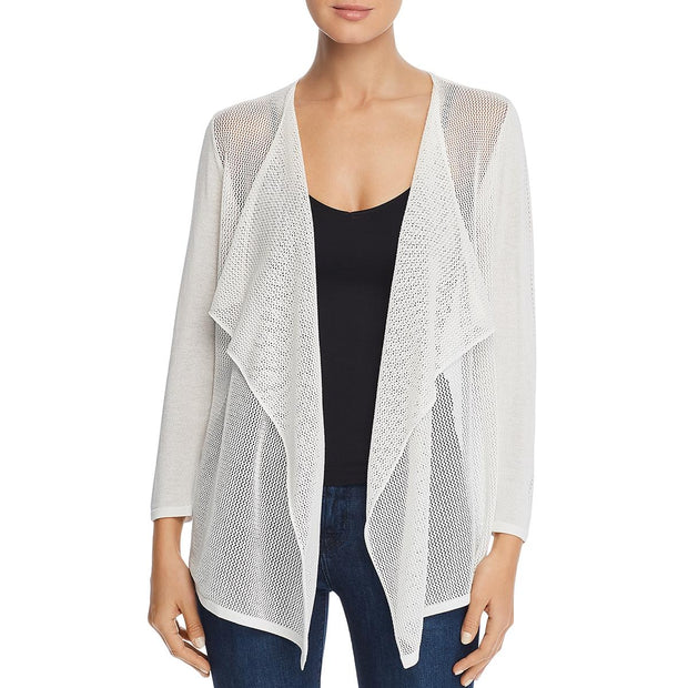 Avec Womens Mixed Knit Open Front Cardigan Sweater