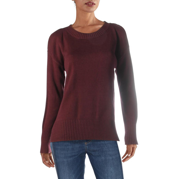 BCBG Max Azria Womens Cold Shoulder Crew Neck Pullover Sweater