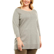 Karen Scott Womens Plus Cotton Contrast Trim Crewneck Sweater