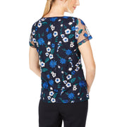 Petites Womens Embroidered Floral Blouse