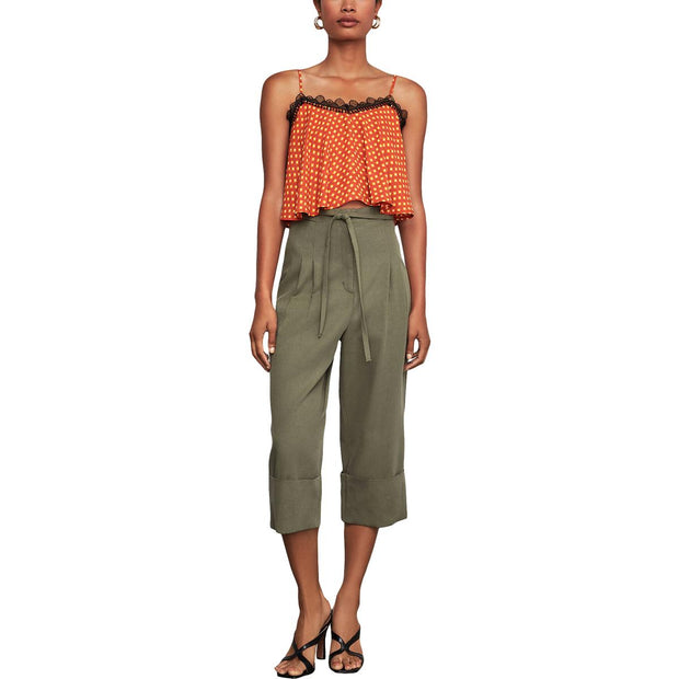 Womens Paperbag High Waist Cropped Pants