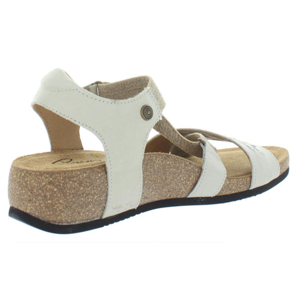 Womens Leather Cork Wedge Sandals