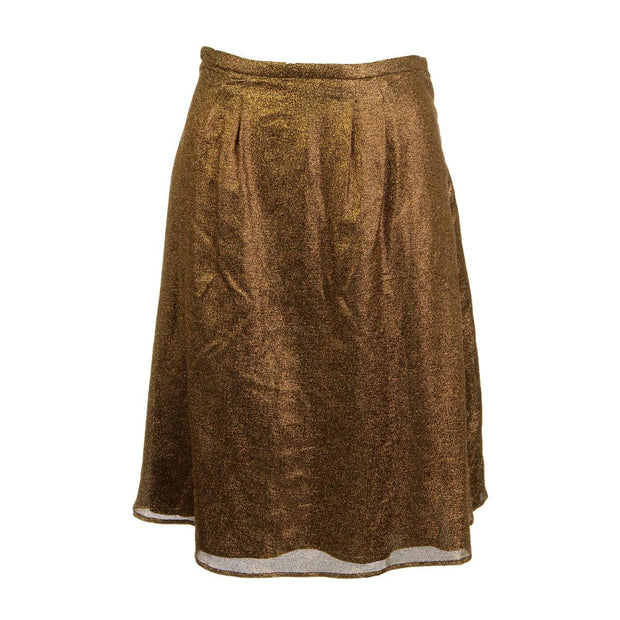 Womens Metallic Knee-Length Pleated Skirt