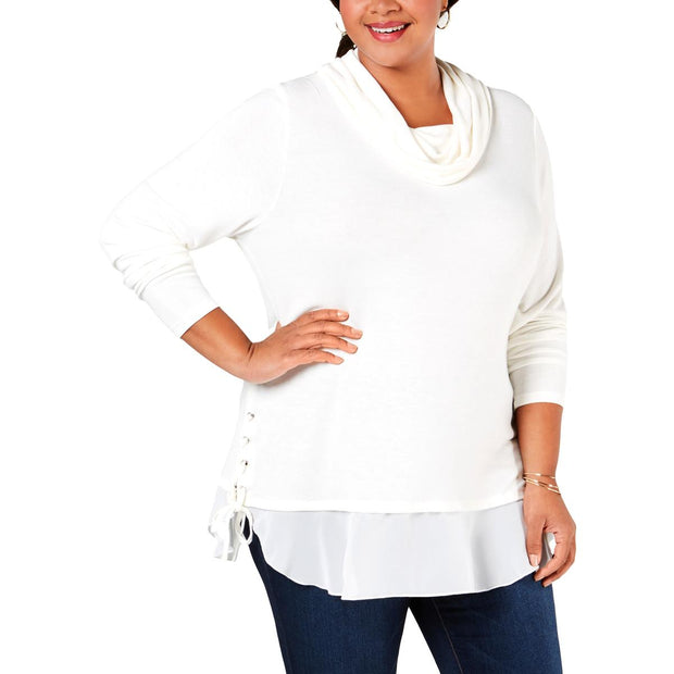 Plus Womens Lace-Up Cowl Neck Sweater