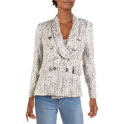 Aqua Womens Tweed Business Double-Breasted Blazer