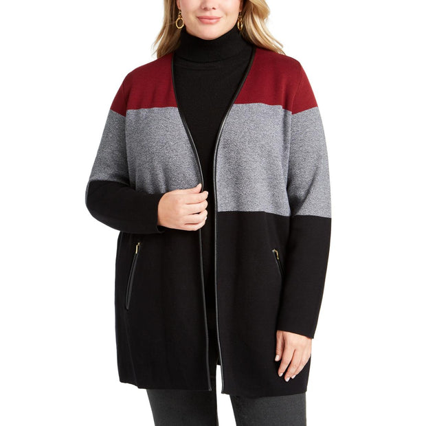 Charter Club Womens Plus Colorblock Faux Leather Trim Sweater