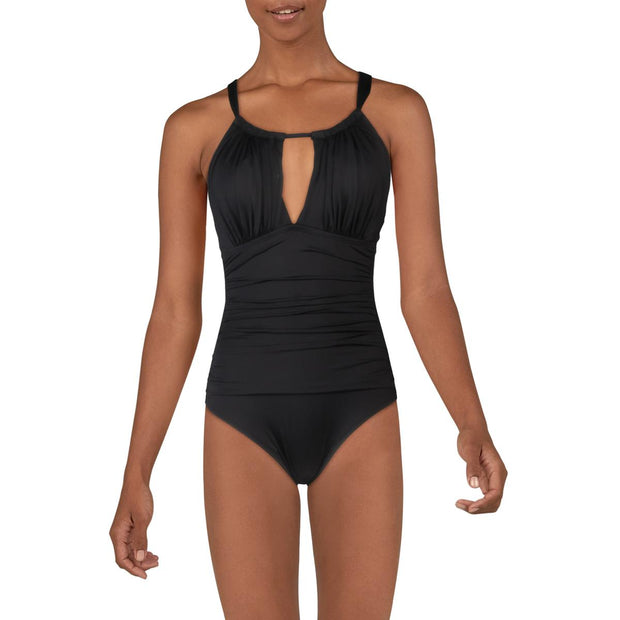 Womens Shirred High Neck One-Piece Swimsuit