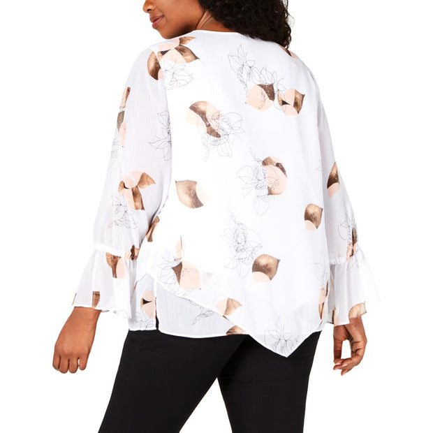 Plus Womens Floral Bell Sleeves Blouse