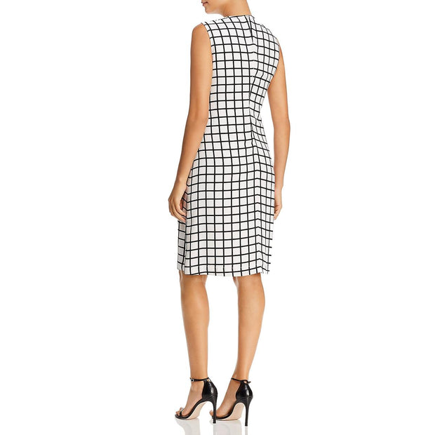 Kenneth Cole New York Womens Grid Print Sleeveless Cocktail Dress