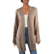 Fashion on Earth Womens Cable Knit Open Front Cardigan Sweater