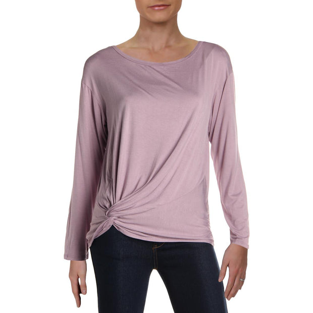 Aqua Womens Knot-Front Long Sleeves Pullover Top
