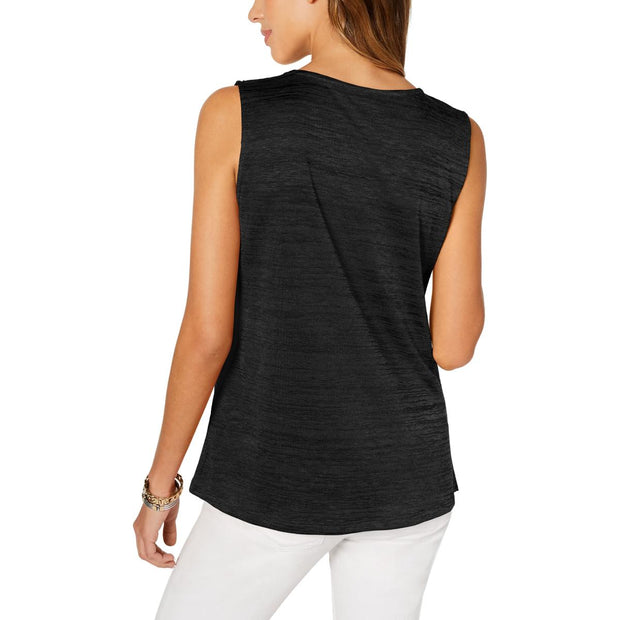 Alfani Womens Asymmetric Pleated Tank Top