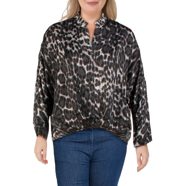 Womens Animal Print Split Neck Blouse