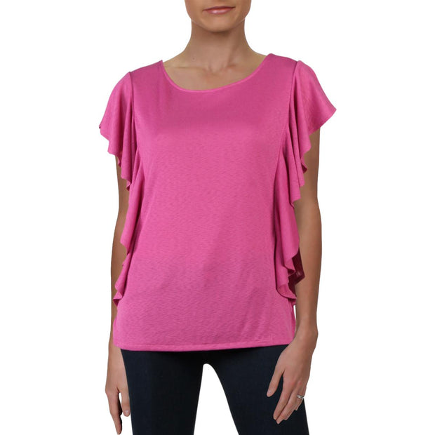 Rachel Rachel Roy Womens Greta Ruffled Scoop Neck T-Shirt