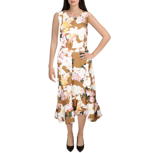 Womens Printed Ruffled Wear to Work Dress