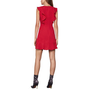 BCBG Max Azria Womens Ruffled V Neck Cocktail Dress