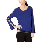 Womens Striped Bell Sleeves Pullover Sweater