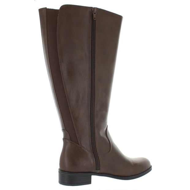 Stormy Womens Faux Leather Stacked Heel Riding Boots