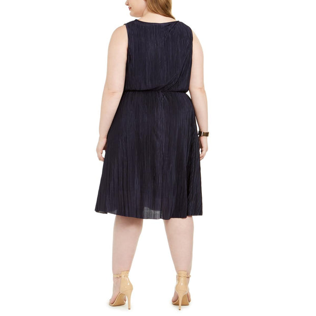 Plus Womens Pleated Surplice Cocktail Dress