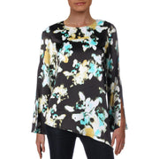 Kenneth Cole Womens Bell Sleeve Asymmetric Blouse