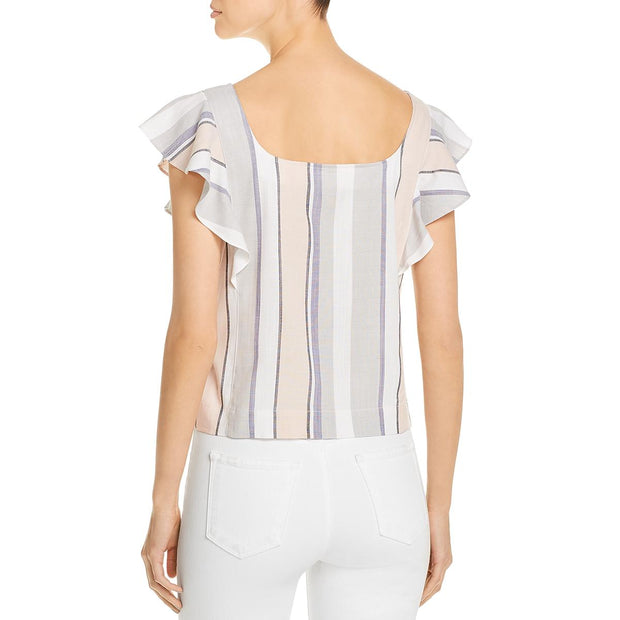 Womens Striped Button Front Casual Top