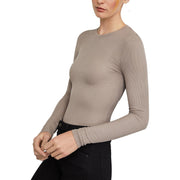 Womens Ribbed Knit Long Sleeves Pullover Top