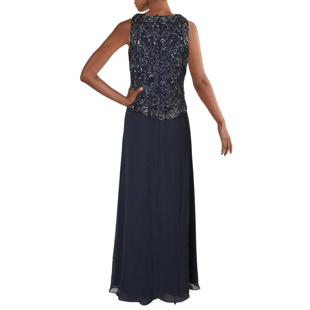 Womens Beaded Paillettes Formal Dress