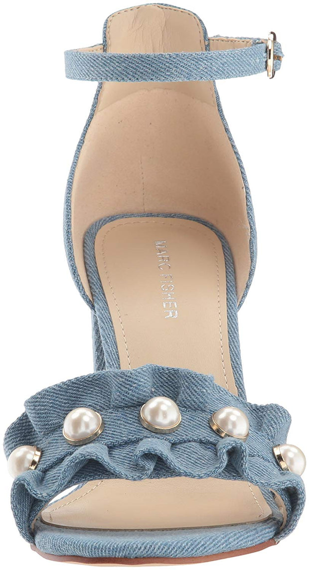 Marc Fisher Womens King Pearl Ruffle Two-Piece Sandals Fabric Open Toe Casual Ankle Strap Sandals