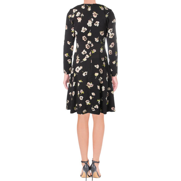 Womens Floral Long Sleeve Scuba Dress