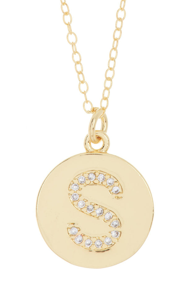 Silver Mama Initial Pave Disc Necklace silver gold