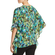 Status by Chenault Womens Printed Flutter Sleeves Blouse