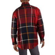 Mens Plaid Tailored Fit Button-Down Shirt