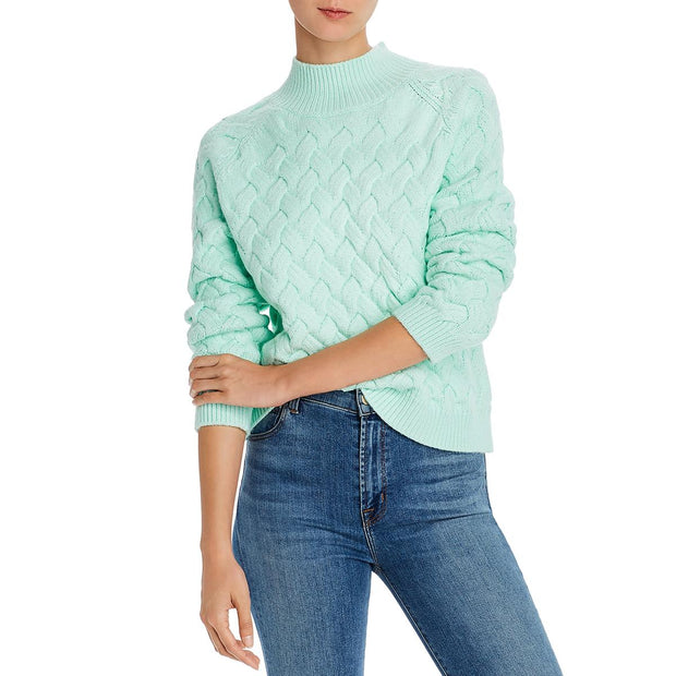 The East Order Womens Adele Cable-Knit Long Sleeve Mock Sweater