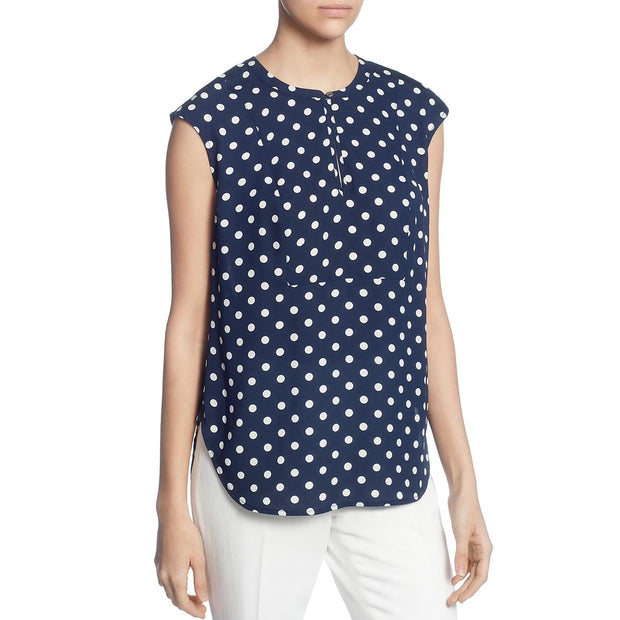 Womens Polka Dot V-Neck Shell