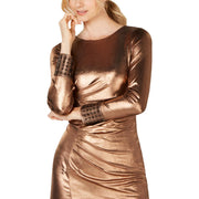 Calvin Klein Womens Metallic Jeweled Cocktail Dress