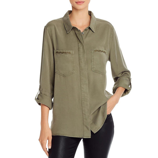 Lola Womens Tencel Button Front Top