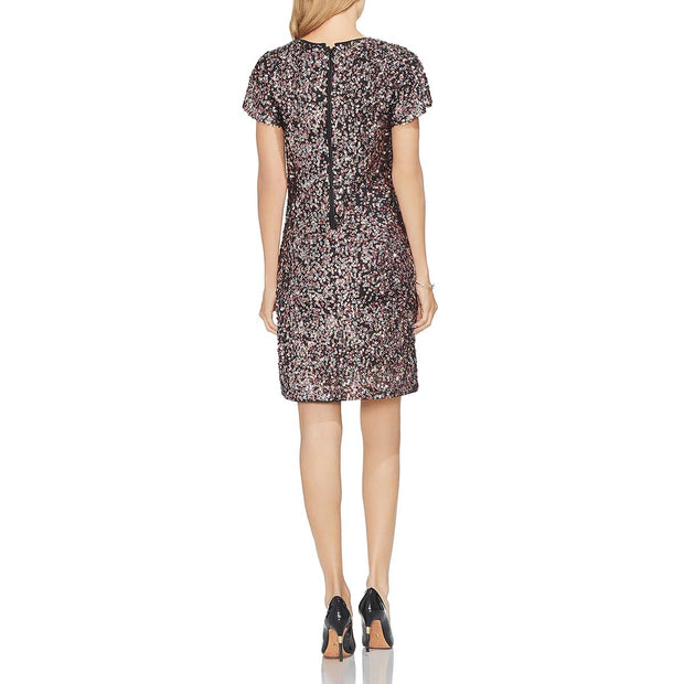 Vince Camuto Womens Sequinned Flutter Sleeve Cocktail Dress
