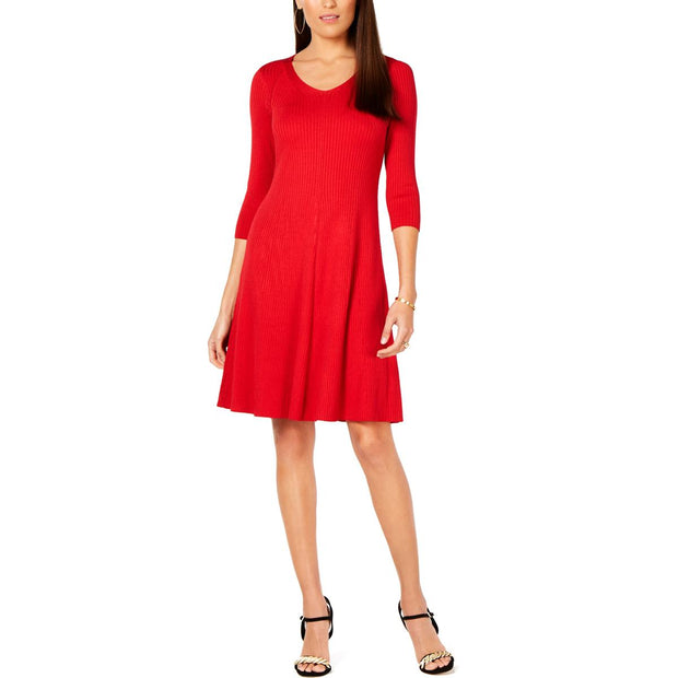 Petites Womens A-Line Ribbed Sweaterdress