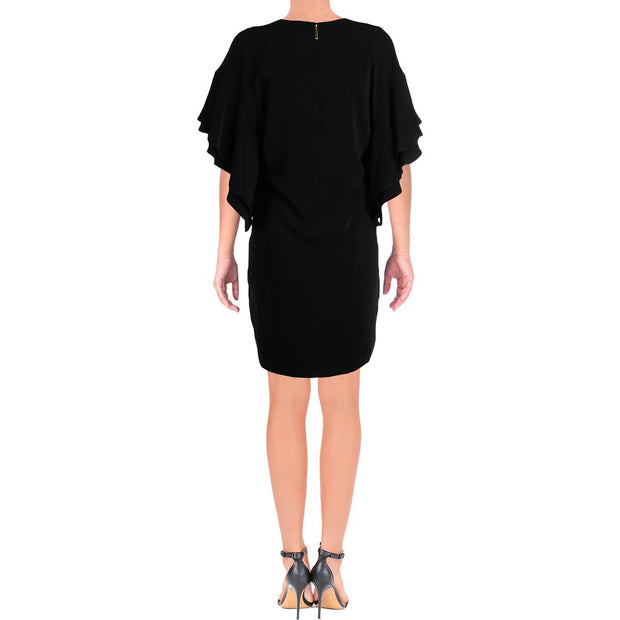Rhona Womens Flutter Sleeves V-Neck Mini Dress