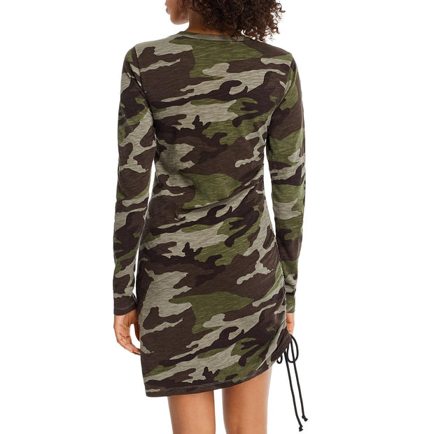 Pam & Gela Womens Camouflage Ruched Casual Dress