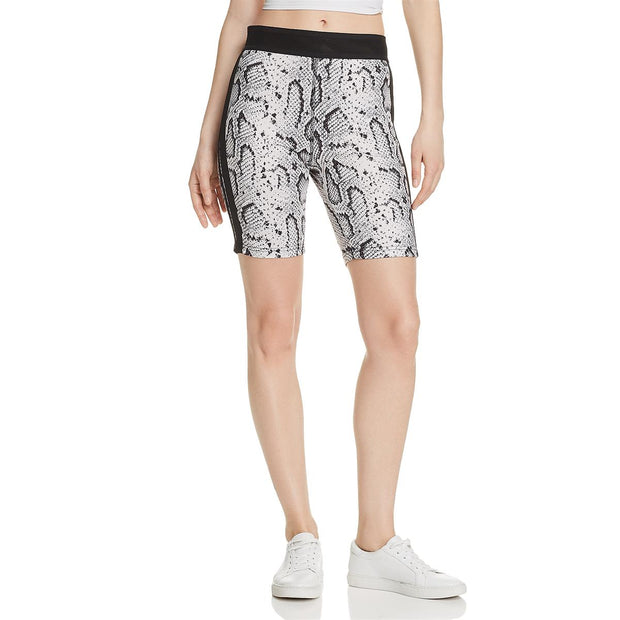 Womens Snake Print High Rise Bike Shorts