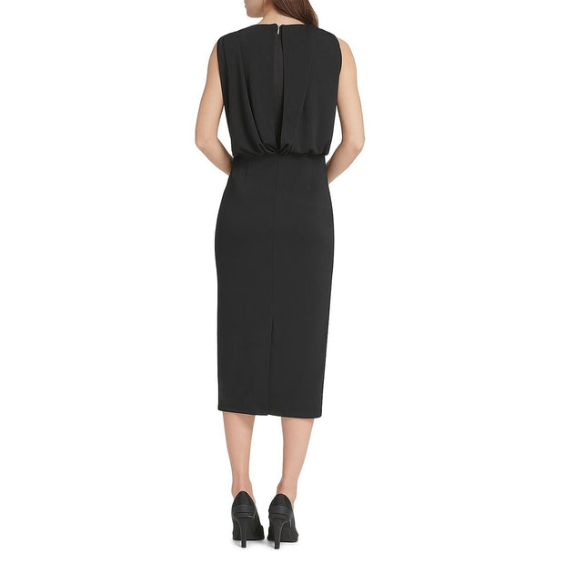 Womens Faux Wrap Ruched Wrap Dress