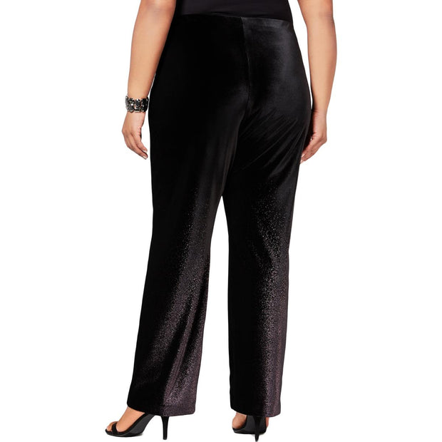 Plus Womens Velvet Ombre Wide Leg Pants