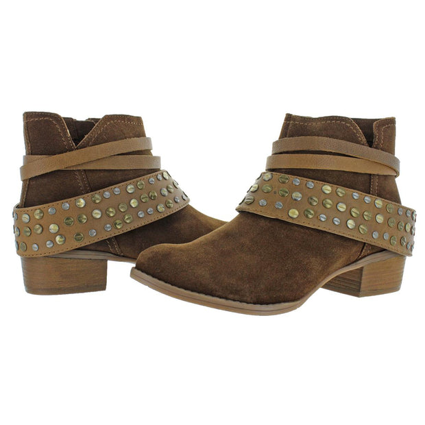 Crimson Womens Suede Studded Ankle Boots